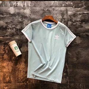 Light Blue Striped Adidas T-Shirt